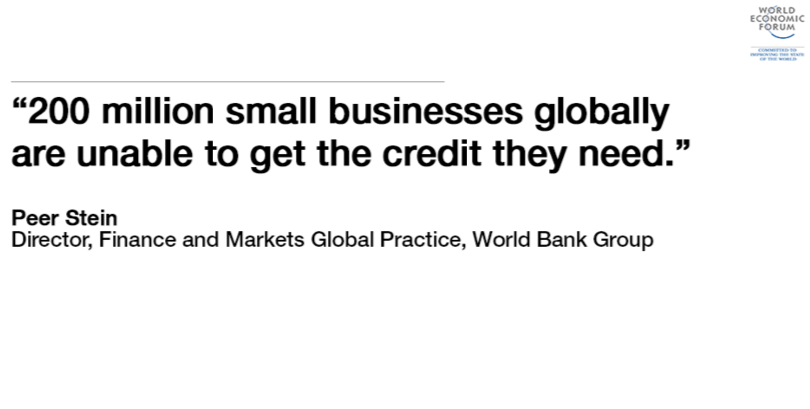 200 million small businesses globally are unable to get credit, source World Bank