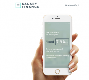 screenshot of website of salary finance